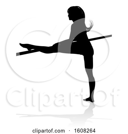 Clipart of a Silhouetted Sexy Pole Dancer or Ballerina Woman, with a Shadow, on a White Background - Royalty Free Vector Illustration by AtStockIllustration