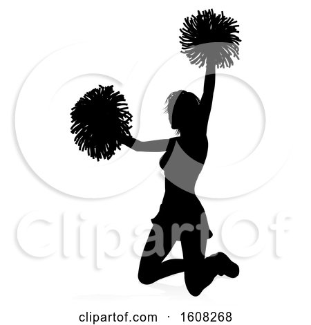 Clipart of a Silhouetted Cheerleader, with a Reflection or Shadow, on a White Background - Royalty Free Vector Illustration by AtStockIllustration