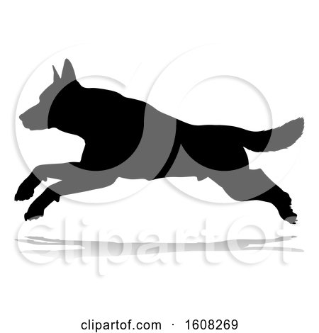 Clipart of a Silhouetted German Shepherd Dog, with a Reflection or Shadow, on a White Background - Royalty Free Vector Illustration by AtStockIllustration