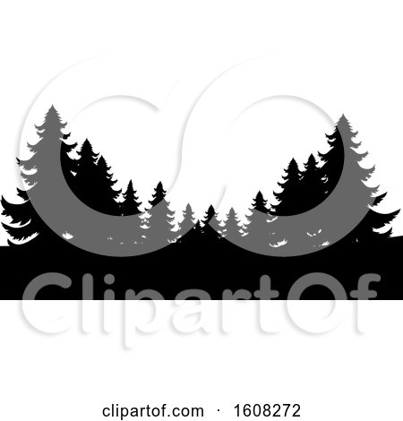 Clipart of Silhouetted Evergreen Trees - Royalty Free Vector Illustration by AtStockIllustration