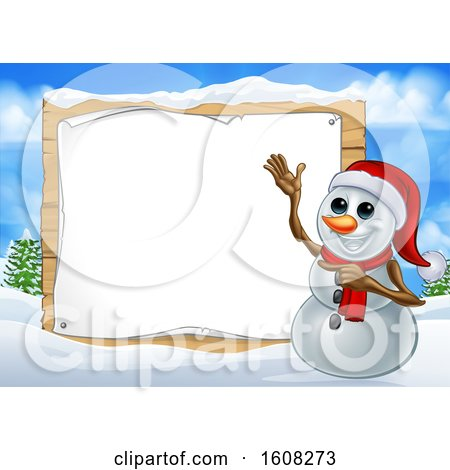 Clipart of a Happy Snowman Wearing a Christmas Santa Hat by a Blank Sign in a Winter Landscape - Royalty Free Vector Illustration by AtStockIllustration