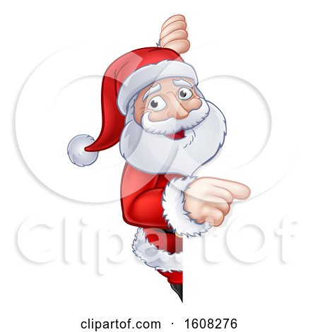 Clipart of a Christmas Santa Claus Pointing Around a Sign - Royalty Free Vector Illustration by AtStockIllustration