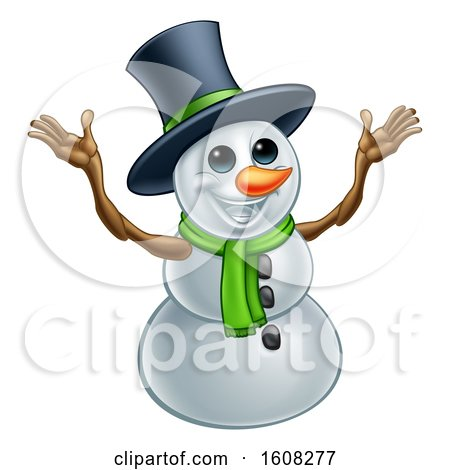 Clipart of a Welcoming Christmas Snowman Wearing a Green Scarf and a Top Hat - Royalty Free Vector Illustration by AtStockIllustration