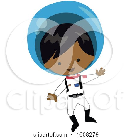 Clipart of a Happy Black Astronaut Boy Floating in a Space Suit - Royalty Free Vector Illustration by peachidesigns