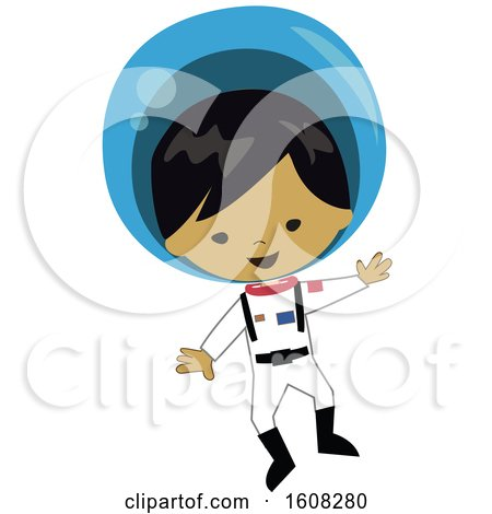 Clipart of a Happy Asian Astronaut Boy Floating in a Space Suit - Royalty Free Vector Illustration by peachidesigns