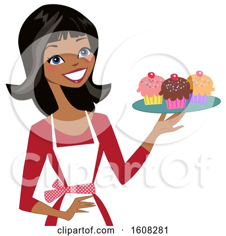 Clipart of a Happy Black Baker Woman Holding a Tray of Cupcakes - Royalty Free Vector Illustration by peachidesigns