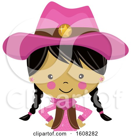 Clipart of a Happy Asian Cowgirl with Braids and a Pink Outfit from the Belly up - Royalty Free Vector Illustration by peachidesigns