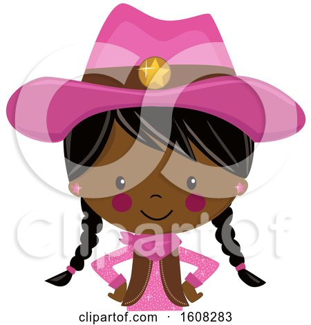 Clipart of a Happy Black Cowgirl with Braids and a Pink Outfit from the Belly up - Royalty Free Vector Illustration by peachidesigns