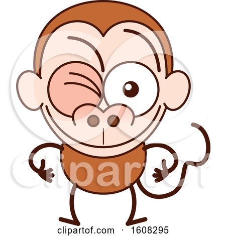 Clipart of a Cartoon Winking Monkey - Royalty Free Vector Illustration by Zooco