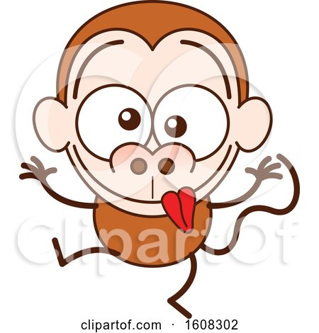 Clipart of a Cartoon Goofy Monkey - Royalty Free Vector Illustration by Zooco