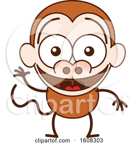 Clipart of a Cartoon Waving Monkey - Royalty Free Vector Illustration by Zooco