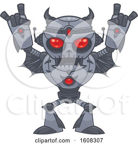 Clipart of a Red Eyed Heavy Metal Music Loving Robot Gesturing Devil Horns - Royalty Free Vector Illustration by John Schwegel