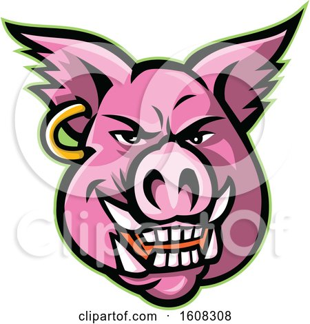 Clipart of a Pink Pig Mascot Face with an Earring - Royalty Free Vector Illustration by patrimonio