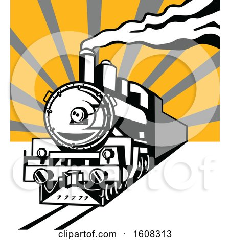 Clipart of a Retro Steam Engine Train with Sun Rays - Royalty Free Vector Illustration by patrimonio