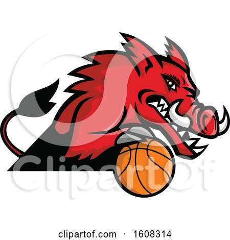 Clipart of a Tough Red Boar Sports Mascot with a Basketball - Royalty Free Vector Illustration by patrimonio