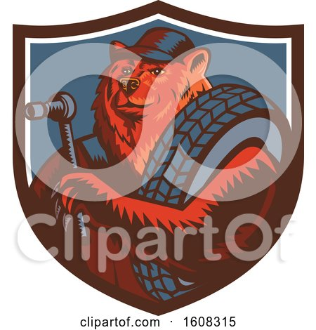 Clipart of a Retro Woodcut Bear Mechanic Holding a Socket Wrench and Tire in a Shield - Royalty Free Vector Illustration by patrimonio