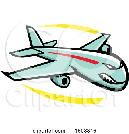 Clipart of a Tough Jump Jet Airplane Mascot in Flight - Royalty Free Vector Illustration by patrimonio