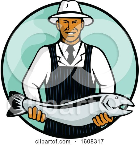 Clipart of a Retro Black Male Fishmonger Holding a Salmon in a Circle - Royalty Free Vector Illustration by patrimonio