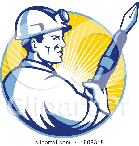 Clipart of a Retro Male Coal Miner Holding a Fountain Pen in a Circle of Sunshine - Royalty Free Vector Illustration by patrimonio