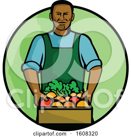 Clipart of a Black Male Grocer Holding a Basket of Fresh Produce in a Creen Circle - Royalty Free Vector Illustration by patrimonio
