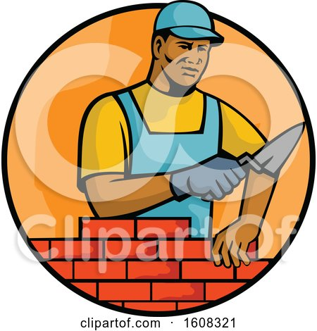 Clipart of a Black Male Mason Laying Bricks in an Orange Circle - Royalty Free Vector Illustration by patrimonio