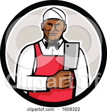 Clipart of a Retro Black Male Butcher Holding a Meat Cleaver Knife in a Circle - Royalty Free Vector Illustration by patrimonio