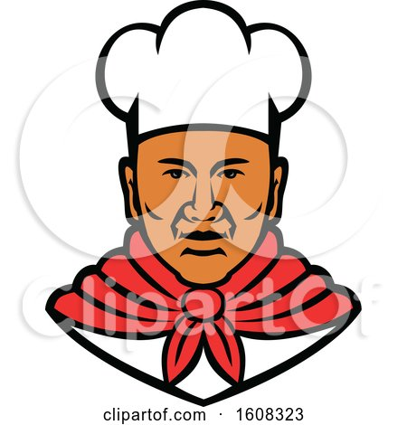 Clipart of a Black Male Chef Wearing a Toque - Royalty Free Vector Illustration by patrimonio