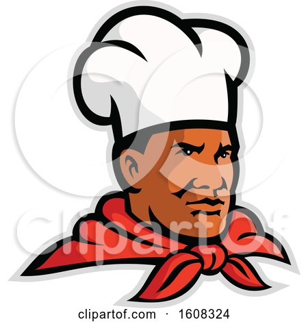 Clipart of a Black Male Chef Wearing a Toque and Facing Slightly Right - Royalty Free Vector Illustration by patrimonio