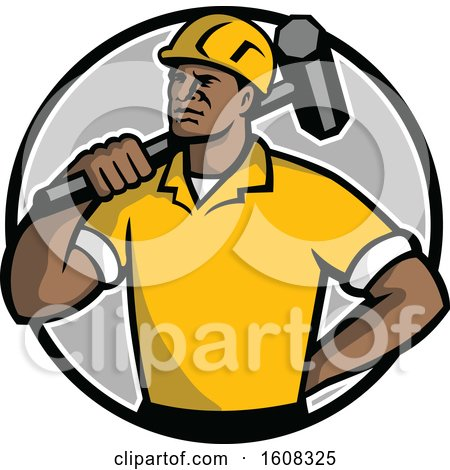 Clipart of a Retro Black Male Construction Demolition Worker with a Sledgehammer over His Shoulder in a Circle - Royalty Free Vector Illustration by patrimonio