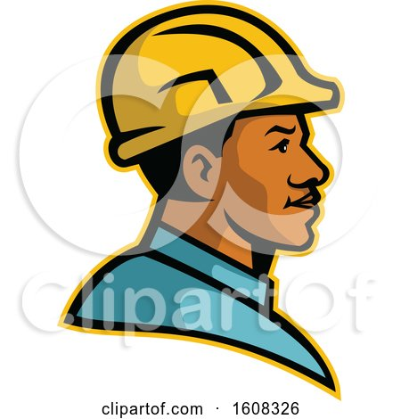 Clipart of a Profile of a Black Male Construction Worker Wearing a Hard Hat - Royalty Free Vector Illustration by patrimonio