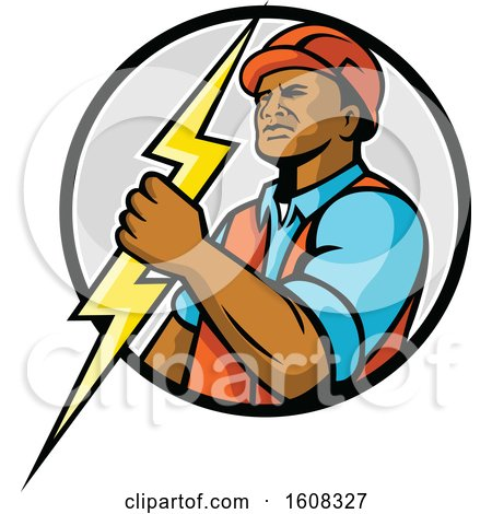 Clipart of a Black Male Electrician Holding a Lightning Bolt in a Circle - Royalty Free Vector Illustration by patrimonio