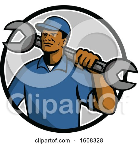 Clipart of a Black Male Mechanic with a Giant Spanner Wrench over His Shoulder in a Circle - Royalty Free Vector Illustration by patrimonio
