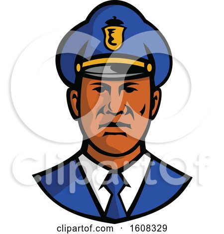 Clipart of a Black Male Police Officer Facing Front - Royalty Free Vector Illustration by patrimonio