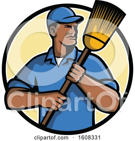 Clipart of a Black Male Street Cleaner or Janitor Holding a Broom in a Circle - Royalty Free Vector Illustration by patrimonio