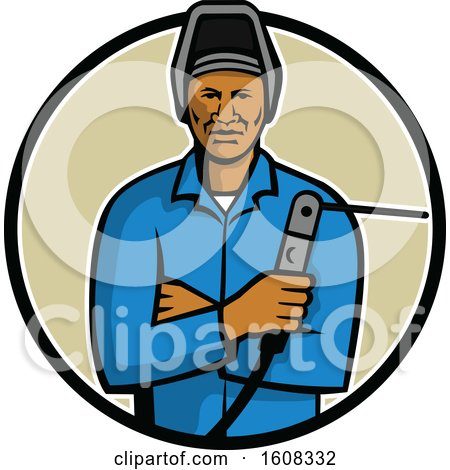 Clipart of a Black Male Welder Holding a Torch in a Circle - Royalty Free Vector Illustration by patrimonio