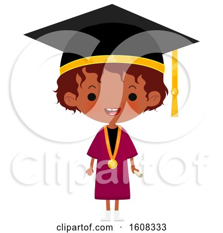 Clipart of a Happy Black Girl Graduate Wearing a Mortar Board and Gown - Royalty Free Vector Illustration by Melisende Vector