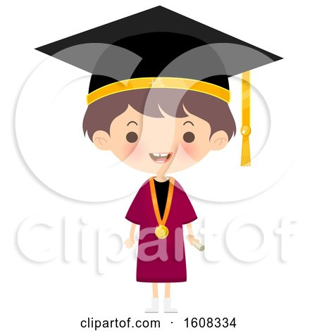 Clipart of a Happy Graduate Kid Wearing a Mortar Board and Gown - Royalty Free Vector Illustration by Melisende Vector