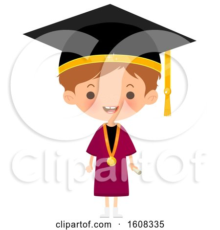 Clipart of a Happy White Graduate Wearing a Mortar Board and Gown - Royalty Free Vector Illustration by Melisende Vector