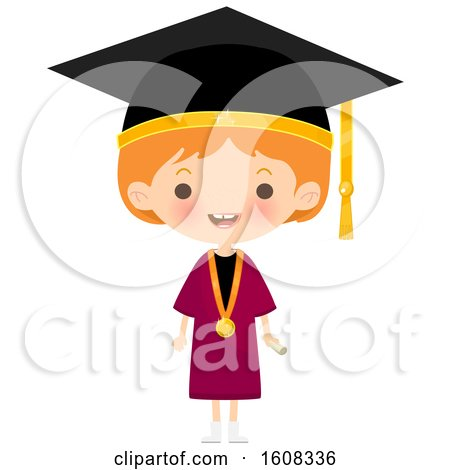 Clipart of a Happy White Girl Graduate Wearing a Mortar Board and Gown - Royalty Free Vector Illustration by Melisende Vector