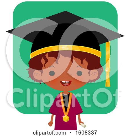 Clipart of a Happy Black Girl Graduate over Green - Royalty Free Vector Illustration by Melisende Vector