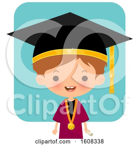 Clipart of a Happy White Graduate over Blue - Royalty Free Vector Illustration by Melisende Vector