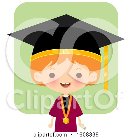 Clipart of a Happy White Girl Graduate over Green - Royalty Free Vector Illustration by Melisende Vector