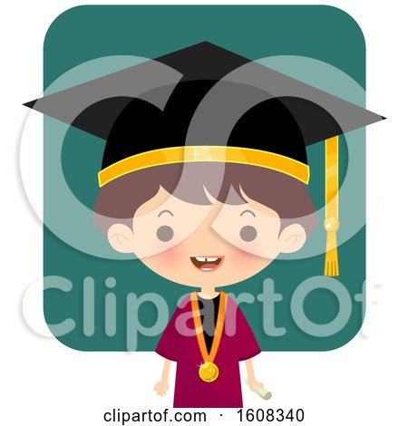 Clipart of a Happy Graduate Kid over Teal - Royalty Free Vector Illustration by Melisende Vector