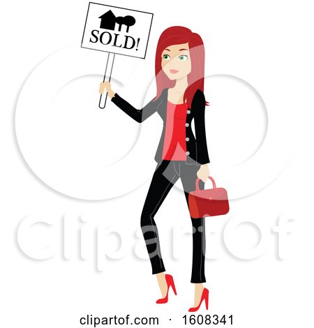 Clipart of a Red Haired Real Estate Agent Holding a Sold Sign - Royalty Free Vector Illustration by Rosie Piter
