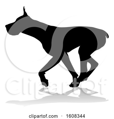 Clipart of a Silhouetted Great Dane Dog, with a Reflection or Shadow, on a White Background - Royalty Free Vector Illustration by AtStockIllustration