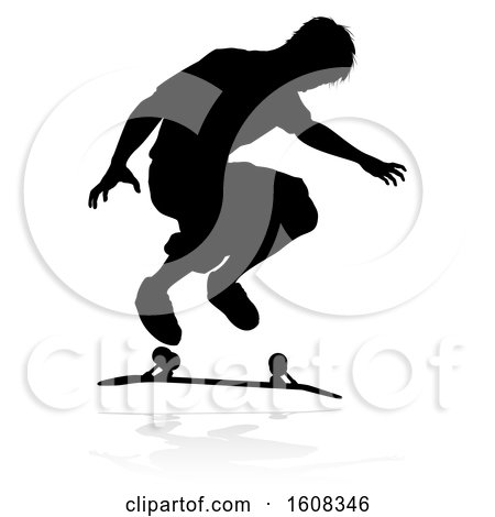Clipart of a Silhouetted Male Skateboarder, with a Reflection or Shadow, on a White Background - Royalty Free Vector Illustration by AtStockIllustration
