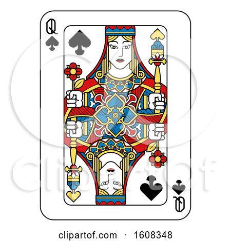 Clipart of a Queen of Spades Playing Card - Royalty Free Vector Illustration by AtStockIllustration