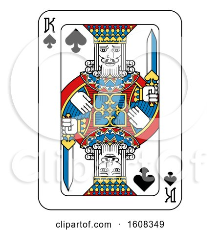 Clipart of a King of Spades Playing Card - Royalty Free Vector Illustration by AtStockIllustration