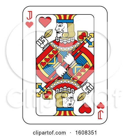 Clipart of a Jack of Hearts Playing Card - Royalty Free Vector Illustration by AtStockIllustration