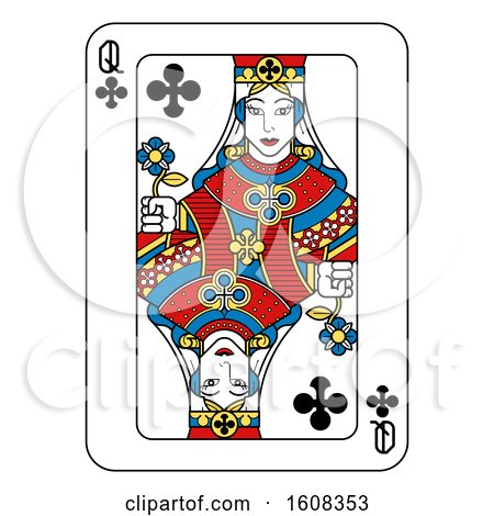 Clipart of a Queen of Clubs Playing Card - Royalty Free Vector Illustration by AtStockIllustration